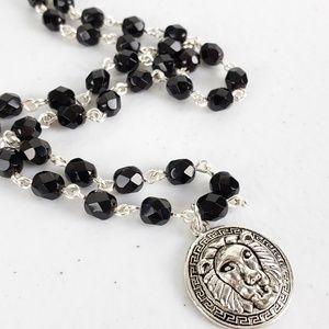 Unisex Black Czech Glass Lion Medallion Necklace